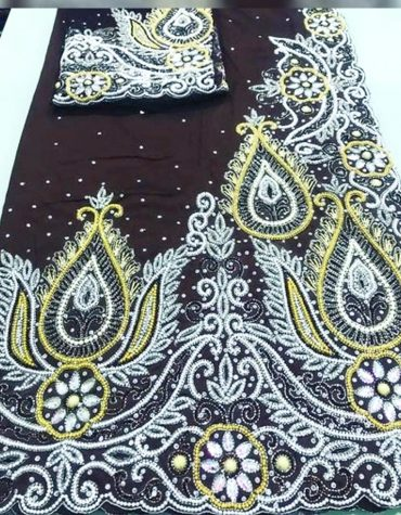 New Classic Nigerian Designer Heavy Beaded George Wedding Dress For Women