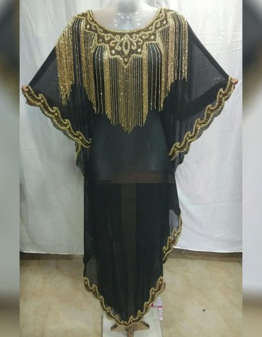 African New Golden Stone Work Beaded Party Wear Chiffon Kaftan For Women