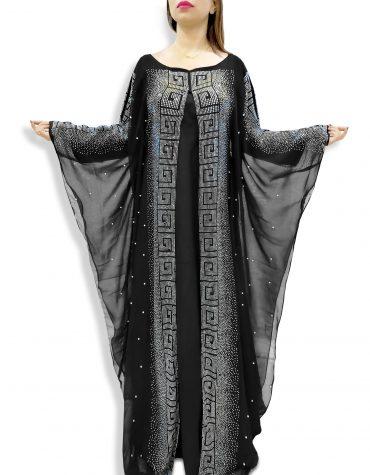 African Attire Design Millions Rhinestone Hot Fix Dubai Embroidered Dresses For Women