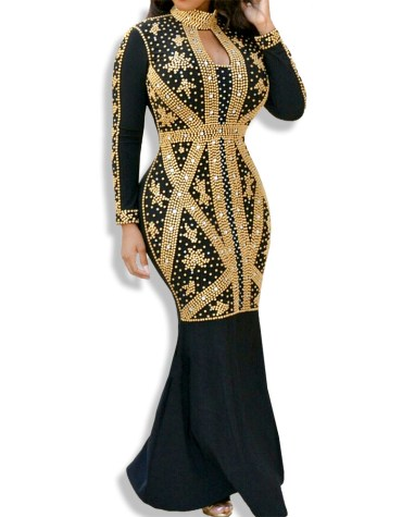 African Attire Collared Dresses Women Open Chest Moroccon Spandex Kaftan