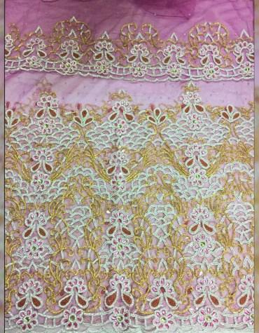 Floral Designer Nigerian Beaded Taffeta George Fabric Dress Material For Women