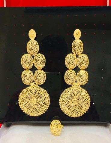 2 Gram Gold African Fashionable Wedding Party Wear Earring Jewellery Set for Women