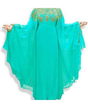 Dubai Kaftan Abaya Maxi Gown Hand Work Golden Beaded African Dress For Women