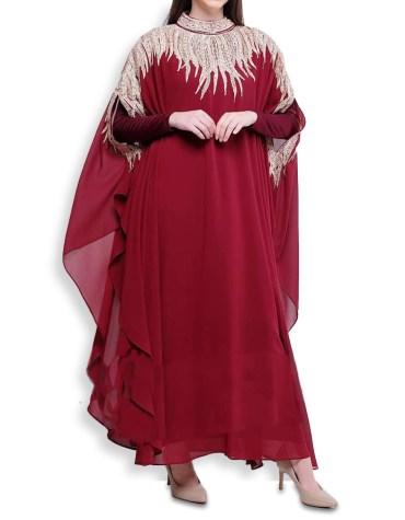 Elegant Silver Stone Beaded Moroccon Kaftan Party Wear African Attire Dresses for Women