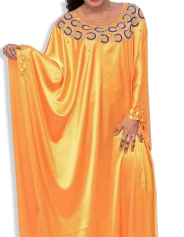 New Shiny Light Weight Bridal African Style Dress Material with Gold Beads Embroidery