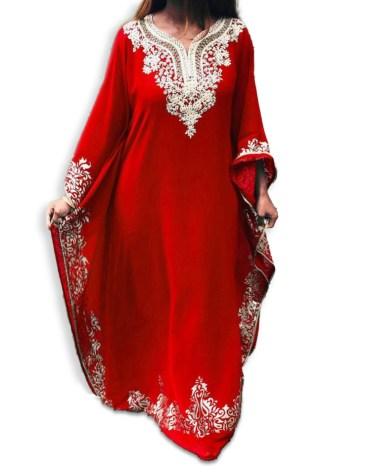 Dubai Kaftan Beads Work Maxi Dress Gown Formal Chiffon African Wear