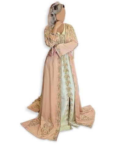 New Bridal African Attire Boat Neck Kaftan Dress for party & Wedding Moroccon Dubai Collection