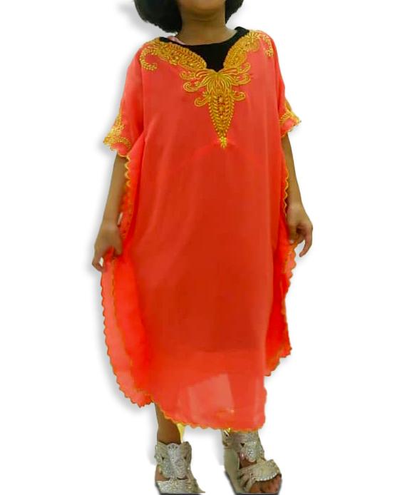 Trendy Moroccon Golden Beaded Party Wear Chiffon Kaftan Dress For Kids