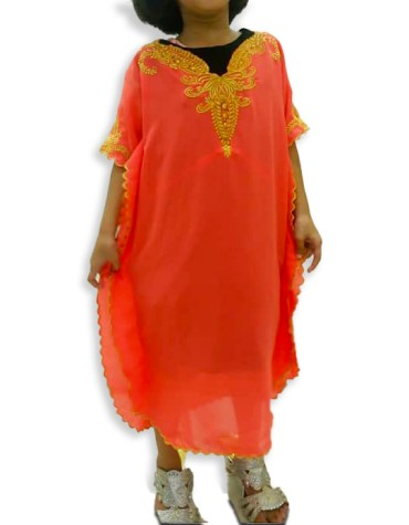 Trendy Moroccon Golden Beaded Party Wear Chiffon Kaftan Dress For Kids