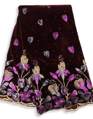 New Latest African Latest Rhinestone Work Velvet Party Dress Material For Women