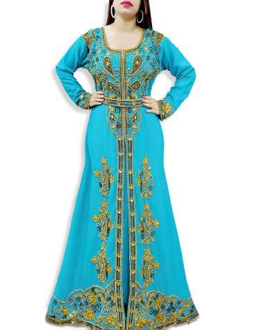 Dubai Fancy Trendy Golden Hand Work Beaded Designer Kaftan For Women