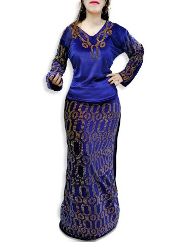 New African Attire Sleeve Rhinestone Velvet Kaftan Dresses Party Wear for Women