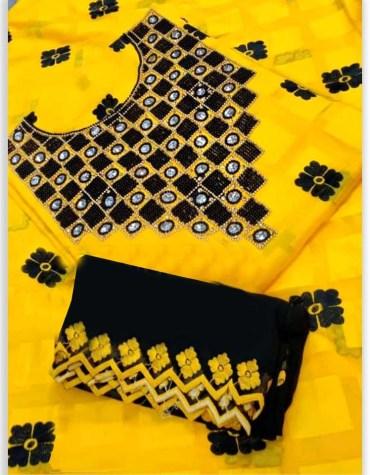 Latest Premium Swiss Voile Cotton Dubai Designer Dress with beaded work For Women