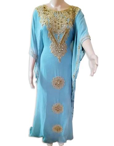 Latest Classic Premium Dresses Golden Beaded Work Chiffon Moroccan African Kaftan