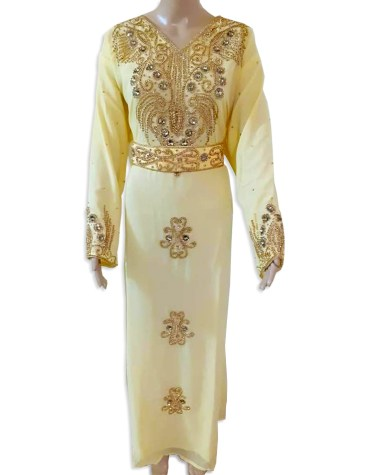 Trendy Gown Evening Dresses Golden Beaded Chiffon Moroccan Dubai Kaftan For Women