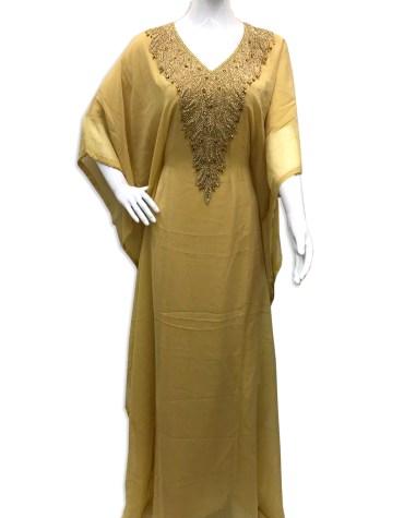 Unique Fashion Wear Gown Evening Dresses Golden Beaded Chiffon Moroccan Kaftan