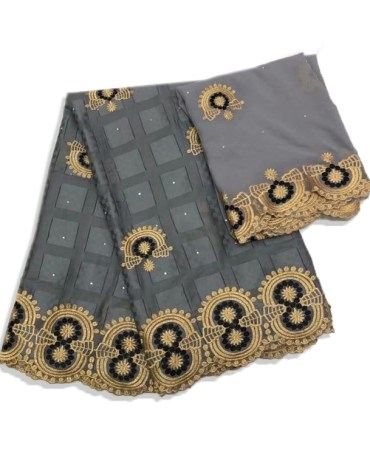 African Swiss Voile Cotton with Black and Golden Color Designer Embroidery