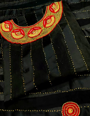 African Seed Beaded Satin Silk Attire Evening party Dress Material