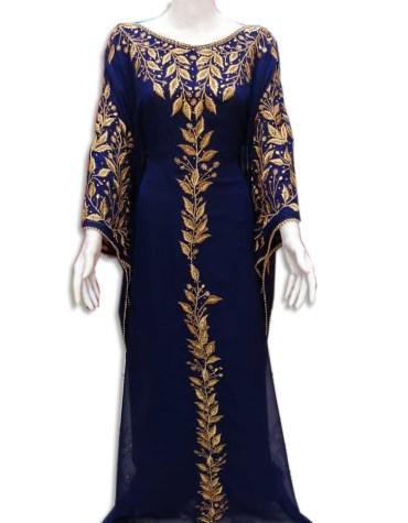 New Arrived African Attire Chiffon kaftan Dress with Golden Embroidery