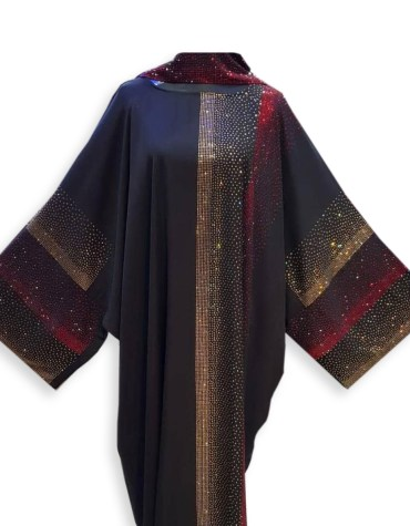 Fancy and Premium Quality African Trendy Party Wear Abaya with Rhinestone Beaded