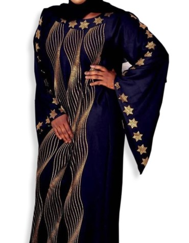 Designer Elegant African Velvet Kaftan with Rhinestone Work for Women