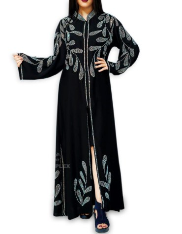 Formal Fancy Wedding Party Rhinestone Beaded Full Sleeves Long Shrug Abaya