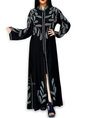 Formal Fancy Wedding Party Rhinestone Beaded Full Sleeves Long Shrug Abaya