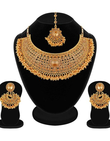Latest Apara Bridal Gold Plated Pearl LCT Stones Necklace Set For Women (Golden)