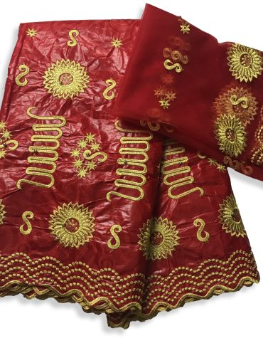 New African Fully Embroidered 100% Super Magnum Gold Rich Bazin Women Dress Material For Women