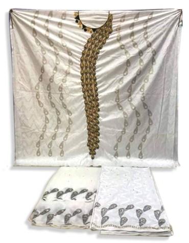New Designer African 100% Super Magnum Gold Getzner Bazin Party Wear For Women