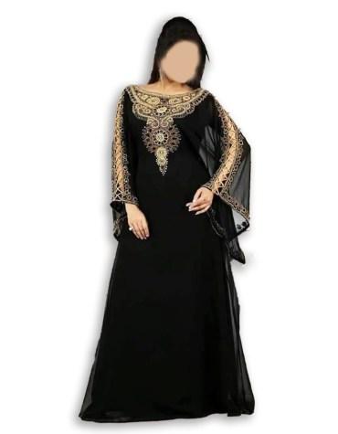African Attire Long Sleeve Plus Size Black kaftan Dresses Beaded For Women