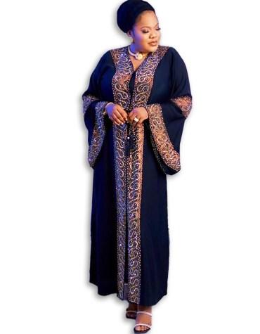 New African Arrived Trendy Rhinestone Beaded Jacket Kaftan Dresses For Women