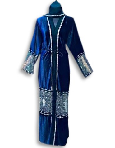 African New With Abaya Silver beaded And Rhinestones Fancy party For Women