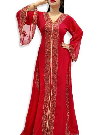 Dubai Abaya Rhinestone Beaded V-Neck Black Designer Arabian Wedding Maxi Kaftan