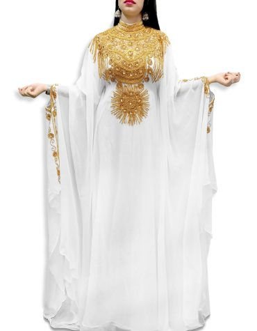 New Embellished Silver Beaded Stone Moroccan Floweriness Dubai Chiffon Kaftan