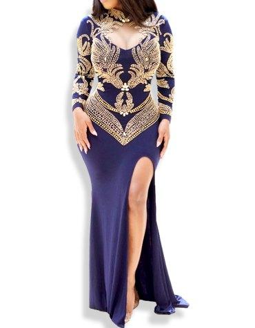 Elegant African Golden Moroccan Beaded Party Wear Kaftan Dresses For Women