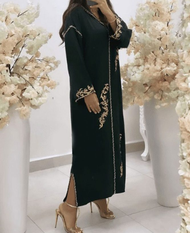 African Abaya Dress Evening Party Wear Nida Fabric Embroidery Work For Women