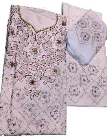 Super Elegant Designer Beaded Swiss Voile Cotton Square Fabric Dress Material For Women