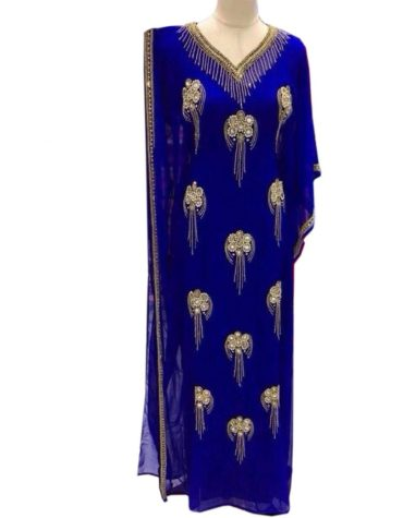 Beautiful African Dress Golden Beaded Jalabiya Abaya Royal Blue Chiffon Kaftan