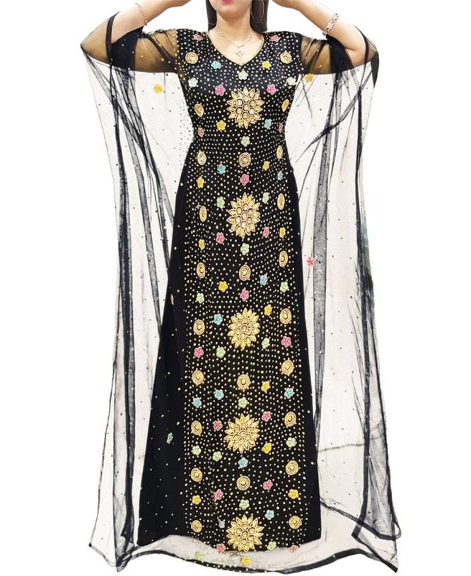 Golden Bridesmaids Diamond Sparkling Stone Evening Abaya Tulle Dubai Satin kaftan