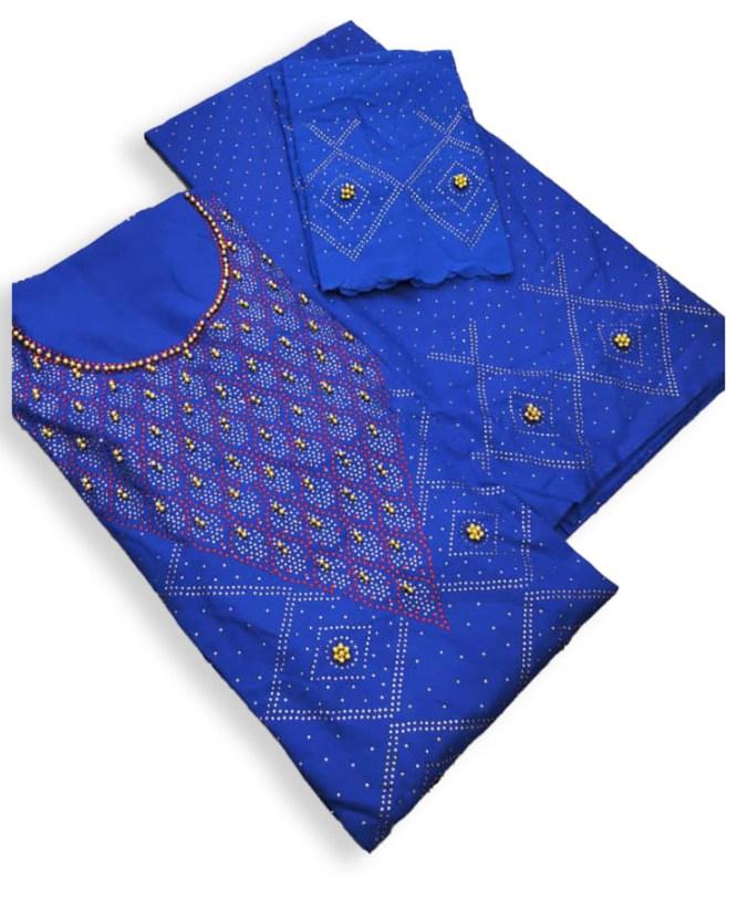 Trendy Collection African Attire Designer Beaded Satin Silk Dress Material For Women