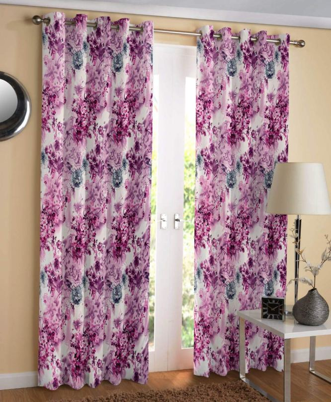 Heavy Long Crush Polyester Floral Print Eyelet Curtains Set of 2 Long Flower