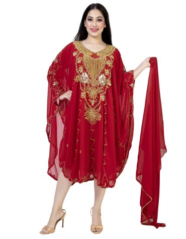 Fancy Party Wear Golden Beaded Embellished Evening Party Wear Tunic Chiffon Dress