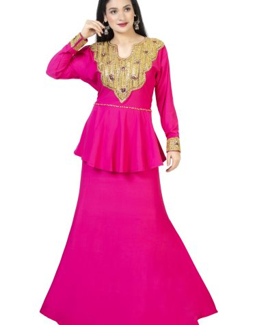 New Arrived Gold Moroccan Beaded Fuchsia Fancy Party Wear Lycra Peplum for Women