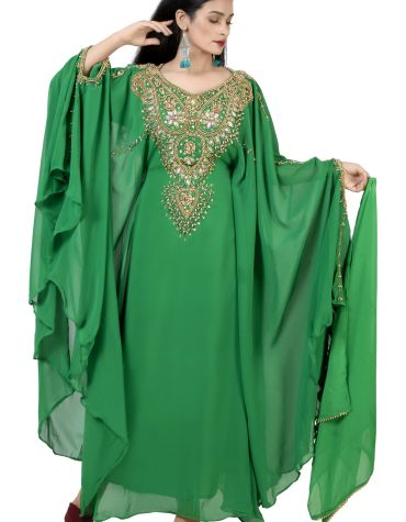 Trendy Boat Neckline Moroccan Embroidery Flared sleeves Chiffon Kaftan Dress For Women