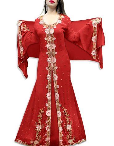 African Floral Bridesmaid Collection Long Maxi Beaded Formal Dubai Kaftan For Women