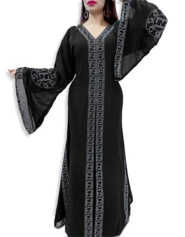 Latest African Attire Abaya Long Bell Sleeve Rhinestone Work Dubai Kaftan Dresses For Women