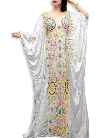 Premium Long Sleeve With Rhinestone Evening & Party Wear White Velvet Kaftan For Women
