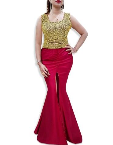 Premium Collection Dress Gold Moroccon Beaded Mermaid Off Shoulder Spandex Kaftan
