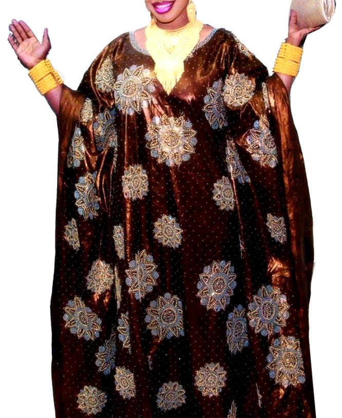 African Dresses For Women Party Wear Stone Work Bazin in Getzner Fabric